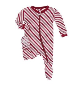Kickee Pants Print Footie with Zipper - Crimson Candy Cane Stripe