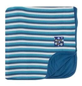 Kickee Pants Print Toddler Blanket Confetti Anniversary Stripe with Twilight Trim