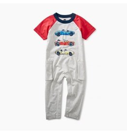 Tea Collection Race Car Raglan Romper - Light Grey Heather