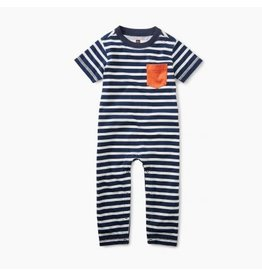 Tea Collection Classic Striped Romper - Indigo