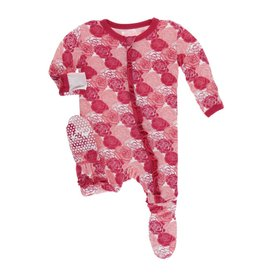 Kickee Pants Kickee Pants Layette Classic Ruffle Footie with Zipper: Roses