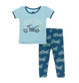 Kickee Pants Kickee Pants Short Sleeve Pajama Set: Heritage Blue Motorcycle