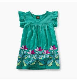 Tea Collection Graphic Wrap Neck Baby Dress - Green Pop