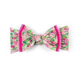 Baby Bling Bows Trimmed Printed Knot (Pink Blossoms)