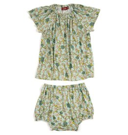 Milkbarn Kids Bamboo Dress & Bloomer Set - Blue Floral