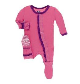 Kickee Pants Solid Classic Layette Ruffle Footie (Flamingo w/ Starfish) Preemie