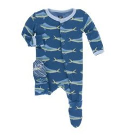 Kickee Pants Print Footie with Snaps Twilight Dolphin Fish Preemie