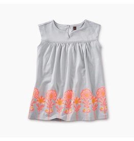 Tea Collection Graphic Empire Baby Dress Oyster Grey