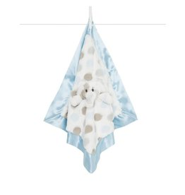 Little Giraffe Luxe Dot Plush Giraffe Blanky - Blue