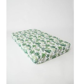Little Unicorn Cotton Muslin Fitted Sheet - Tropical Leaf