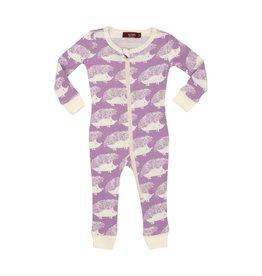 Milkbarn Kids Organic Zipper Pajama - Lavendar Hedgehog