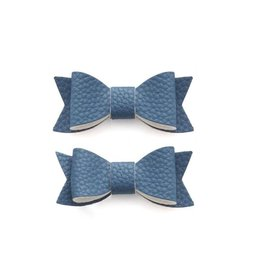 Baby Bling Bows Leather Bow Tie Clip (Denim)