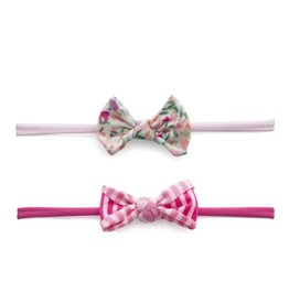 Baby Bling Bows 2PK Mini Print Skinny - Scatter Floral/ Hot Pink Stripe
