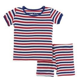 Kickee Pants Kickee Pants Short Sleeve Pajama Set with Shorts: USA Stripe 3T