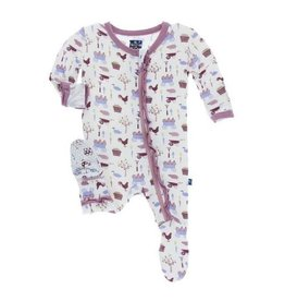 Kickee Pants Print Classic Layette Ruffle Footie (Girl Natural Farm)