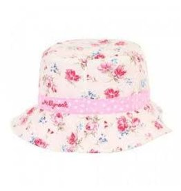 Millymook and Dozer Baby Girls Bucket Hat - Vintage Floral Pink