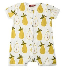 Milkbarn Kids Organic Cotton Shortall Romper - Pear