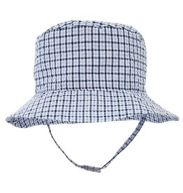 Huggalugs Blue Plaid Seesucker UPF 25+ Bucket Hat