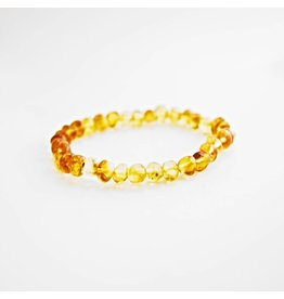 Amber Monkey Baltic Amber Petite Lemon Stretch Baroque Bracelet- 7-8 inch