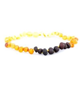 Amber Monkey Baltic Amber Baroque 10-11 inch Necklace - Raw Rainbow POP