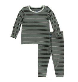 Kickee Pants Print Long Sleeve Pajama Set - Succulent Kenya Stripe