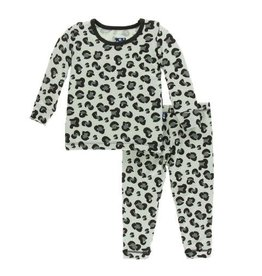 Kickee Pants Print Long Sleeve Pajama Set -  Aloe Cheetah Print