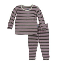 Kickee Pants Print Long Sleeve Pajama Set - Elderberry Kenya Stripe