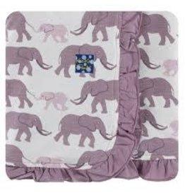 Kickee Pants Print Ruffle Stroller Blanket - Natural Elephants