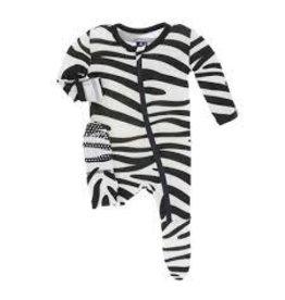 Kickee Pants Print Footie with Zipper - Natural Zebra Print 6-9M