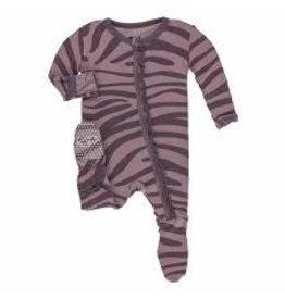 Kickee Pants Print Muffin Ruffle Footie with Zipper - Elderberry Zebra Print