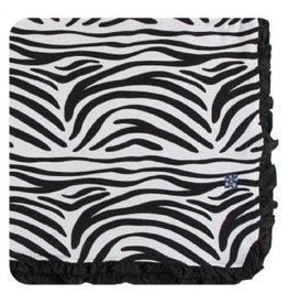 Kickee Pants Print Ruffle Toddler Blanket - Natural Zebra Print