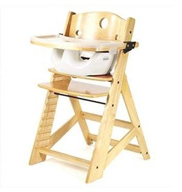 Keekaroo by Bergeron By Design Height Right High Chair with Tray and Cover - Natural with infant insert