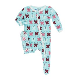 Kickee Pants Kickee Pants Layette Classic Ruffle Footie with Zipper: Tallulah's Butterfly 6-9M