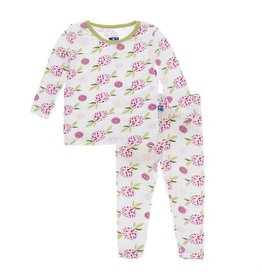 Kickee Pants Print Long Sleeve Pajama Set Natural Marigold 3T