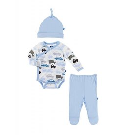 Kickee Pants Kimono Gift Set (Natural Cars & Trucks) 0-3M