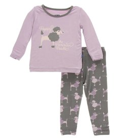 Kickee Pants Print Long Sleeve Pajama Set Cobblestone Poodle 2T