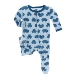 Kickee Pants Print Footie with Snaps (Pond Wombat) 3-6M