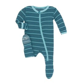 Kickee Pants Kickee Pants Footie with Zipper: Shining Sea Stripe 0-3M