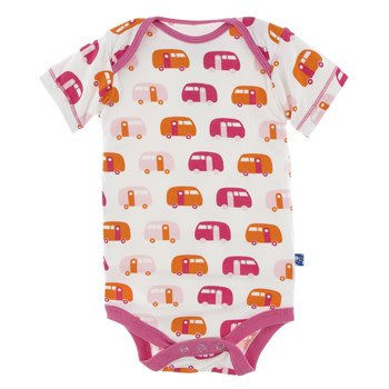 Kickee Pants Print Short Sleeve One Piece - Natural Camper 3-6M