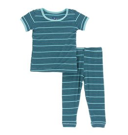 Kickee Pants Print Short Sleeve Pajama Set - Shining Sea 4T