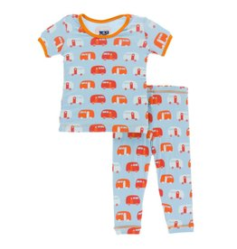 Kickee Pants Print Short Sleeve Pajama Set - Pond Camper  4T
