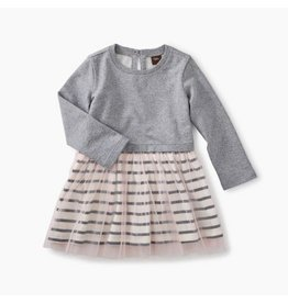 Tea Collection Striped Tulle Skirted Dress - Med Heather Grey