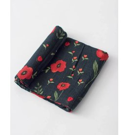 Little Unicorn Cotton Muslin Swaddle - Single - Dark Summer Poppy