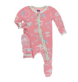 Kickee Pants Kickee Pants Layette Classic Ruffle Footie with Zipper: Strawberry Carnival 0-3M
