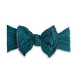 Baby Bling Bows Trimmed Classic Knot Mini Pom (Emerald)