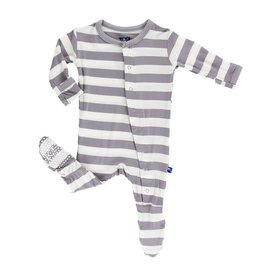 Kickee Pants Print Classic Footie with Snaps Feather Stripe