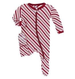 Kickee Pants Print Footie with Zipper - Crimson Candy Cane Stripe NB, Newborn