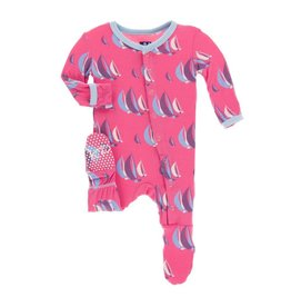 Kickee Pants Print Footie with Snaps Flamingo Sailing Race 0-3M