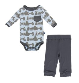 Kickee Pants Print Long Sleeve Pocket One Piece and Pant Outfit Set London Dogs