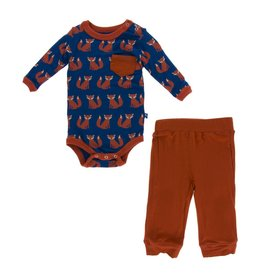 Kickee Pants Print Long Sleeve Pocket One Piece and Pant Outfit Set Navy Fox